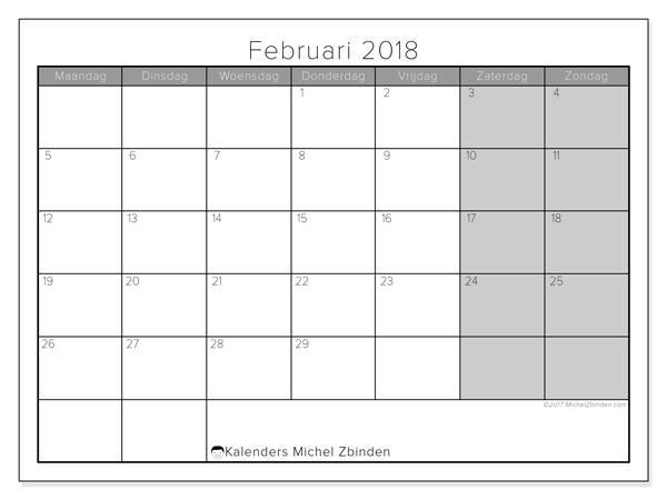 Kalender februari 2018 (54MZ). Gratis kalender om af te drukken.