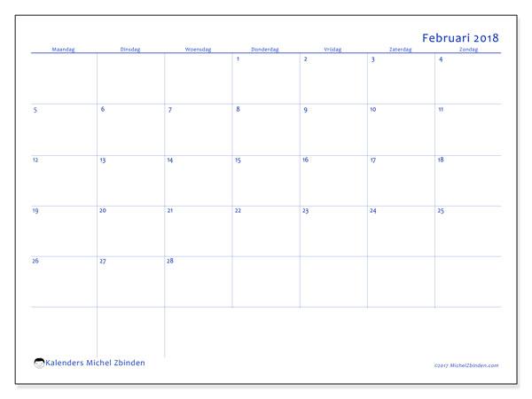Kalender februari 2018 (55MZ). Gratis afdrukbare kalender.