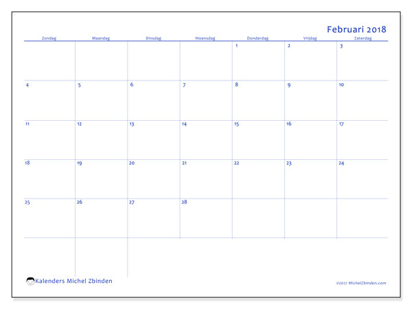 Kalender februari 2018 (55ZZ). Maandkalender om gratis te printen.