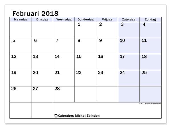 Kalender februari 2018 (57MZ). Kalender om gratis af te drukken.