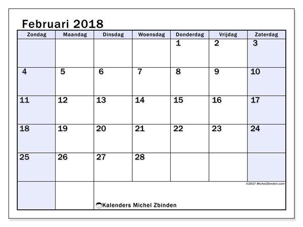 Kalender februari 2018 (57ZZ). Kalender om gratis af te drukken.