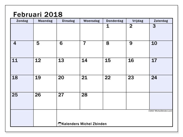 Kalender februari 2018 (57ZZ). Maandkalender om gratis te printen.