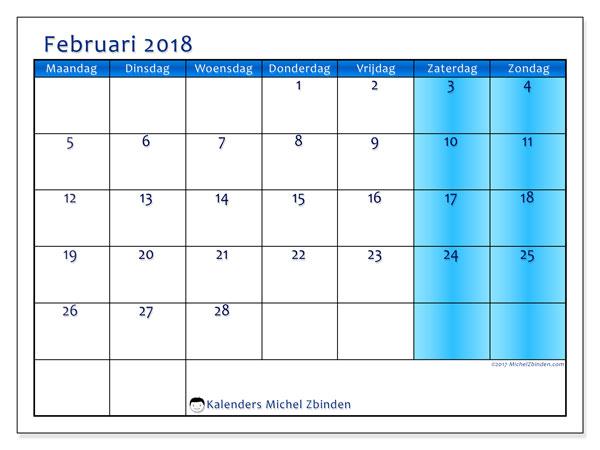 Kalender februari 2018 (58MZ). Schema om gratis te printen.
