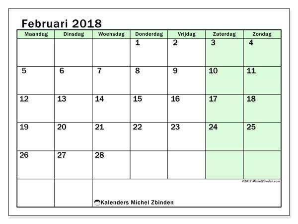 Kalender februari 2018 (60MZ). Schema om gratis te printen.