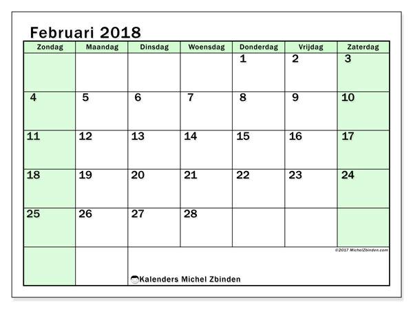 Kalender februari 2018 (60ZZ). Agenda om gratis te printen.