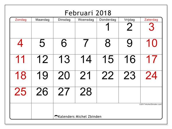Kalender februari 2018 (62ZZ). Gratis afdrukbare kalender.