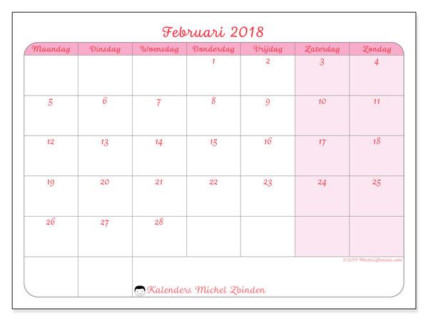 Kalender februari 2018 (63MZ). Kalender om gratis te printen.