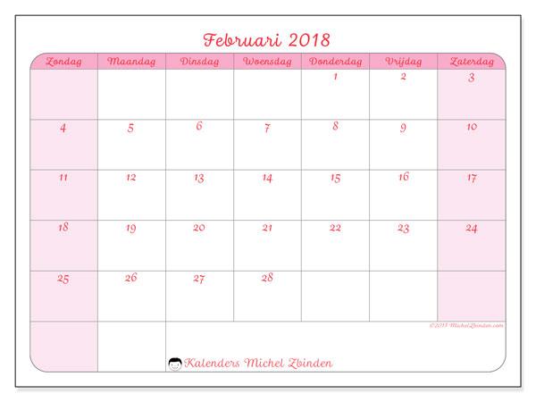 Kalender februari 2018 (63ZZ). Gratis kalender om af te drukken.