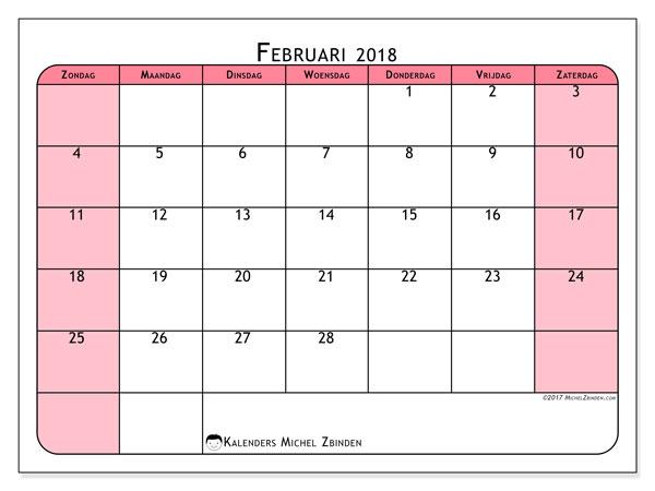 Kalender februari 2018 (64ZZ). Agenda om gratis te printen.