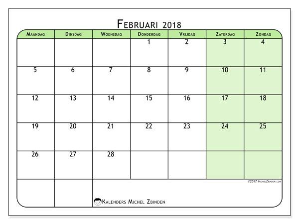 Kalender februari 2018 (65MZ). Gratis afdrukbare kalender.