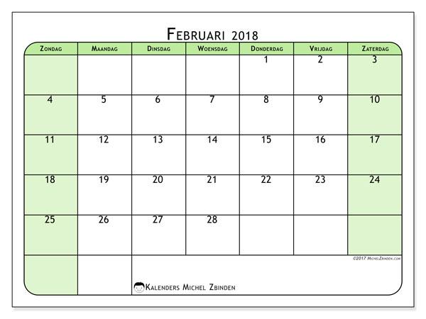 Kalender februari 2018 (65ZZ). Kalender om gratis af te drukken.
