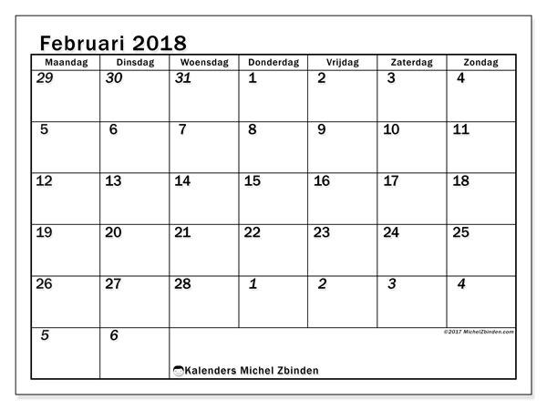 Kalender februari 2018 (66MZ). Schema om gratis te printen.