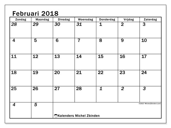 Kalender februari 2018 (66ZZ). Kalender om gratis te printen.
