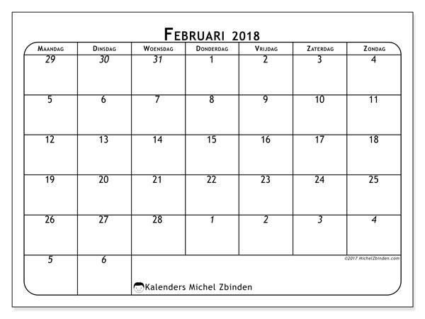 Kalender februari 2018 (67MZ). Kalender om gratis te printen.