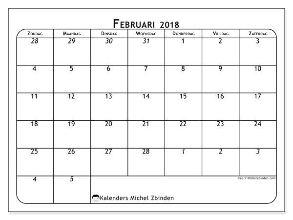Kalender februari 2018 (67ZZ). Maandkalender om gratis te printen.