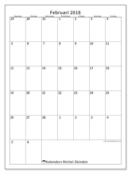 Kalender februari 2018 (68MZ). Gratis printbare kalender.