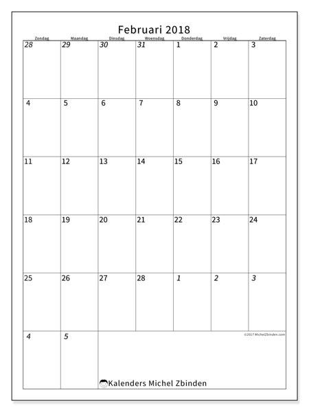 Kalender februari 2018 (68ZZ). Kalender voor de maand die gratis moet worden afgedrukt.