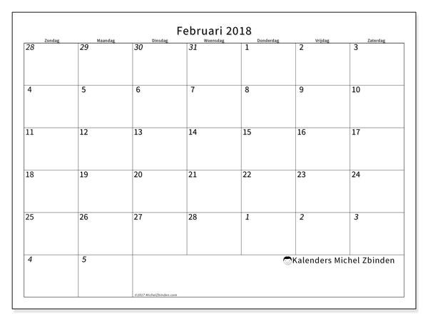 Kalender februari 2018 (70ZZ). Kalender voor de maand die gratis moet worden afgedrukt.