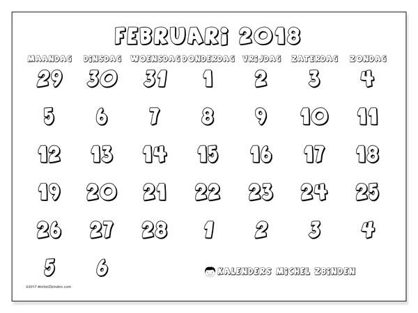 Kalender februari 2018 (71MZ). Maandkalender om gratis te printen.