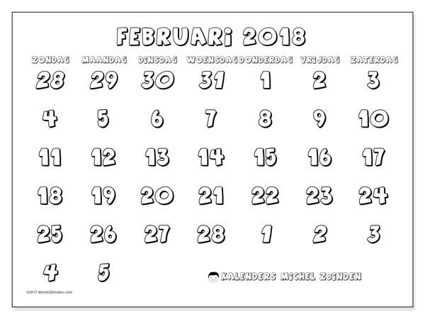 Kalender februari 2018 (71ZZ). Kalender voor de maand die gratis moet worden afgedrukt.