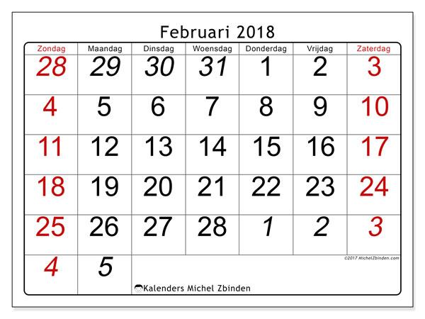 Kalender februari 2018 (72ZZ). Maandkalender om gratis te printen.