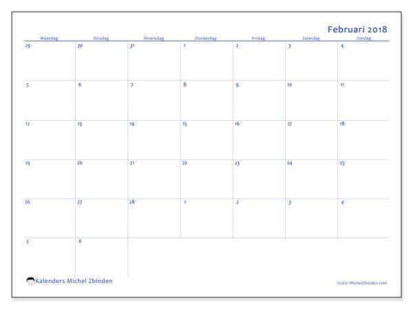 Kalender februari 2018 (73MZ). Kalender voor de maand die gratis moet worden afgedrukt.