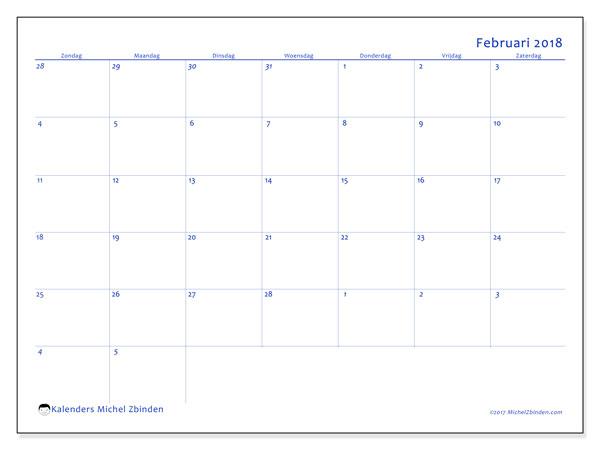 Kalender februari 2018 (73ZZ). Schema om gratis te printen.