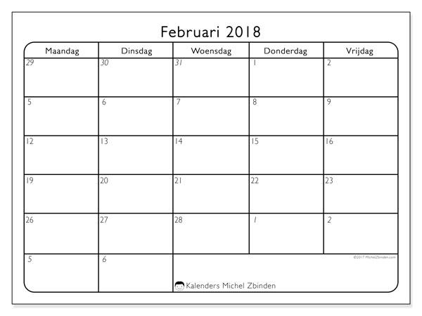 Kalender februari 2018 (74MV). Kalender voor de maand die gratis moet worden afgedrukt.