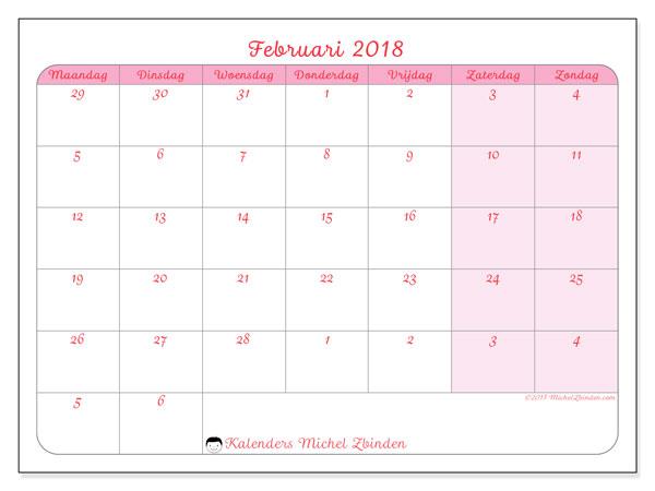 Kalender februari 2018 (76MZ). Maandkalender om gratis te printen.