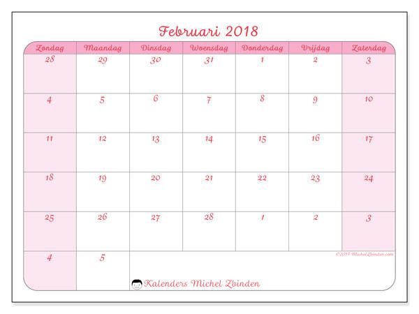 Kalender februari 2018 (76ZZ). Gratis kalender om af te drukken.