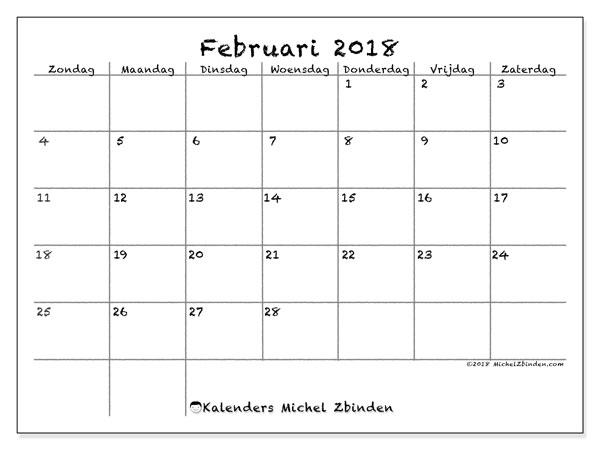 Kalender februari 2018 (77ZZ). Gratis printbare kalender.