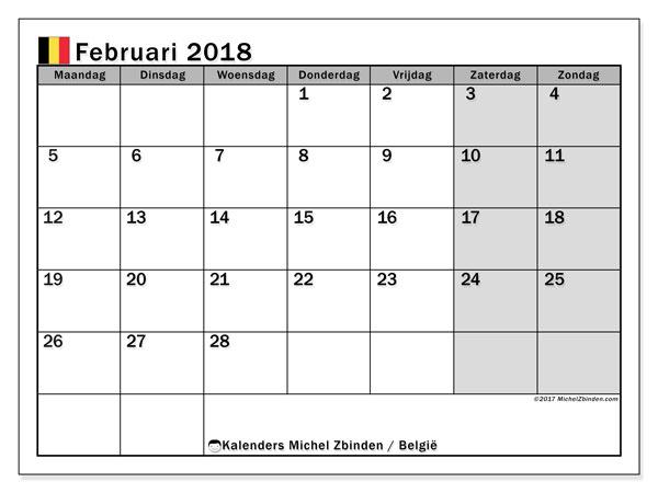 Kalender februari 2018 met de feestdagen van België. Gratis kalender om af te drukken.