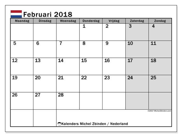 Kalender februari 2018 met de feestdagen van Nederland. Maandkalender om gratis te printen.