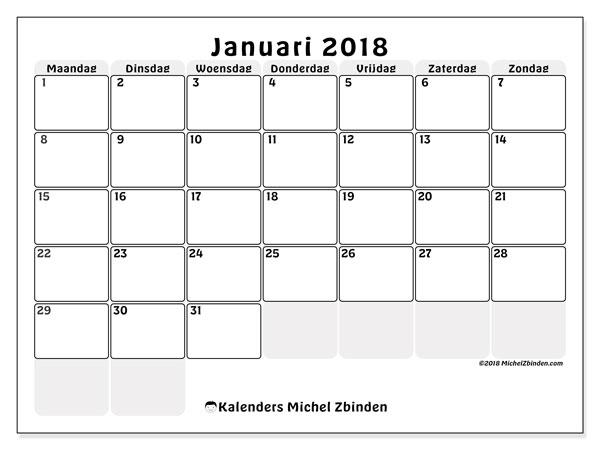 Kalender januari 2018 (44MZ). Gratis afdrukbare kalender.