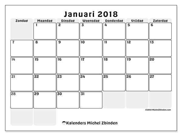 Kalender januari 2018 (44ZZ). Gratis printbare kalender.
