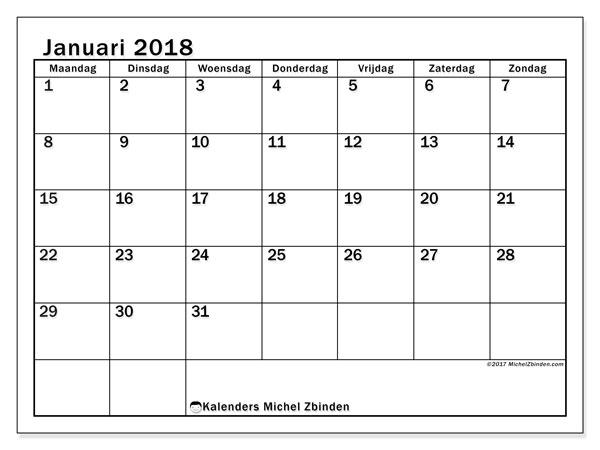 Kalender januari 2018 (50MZ). Maandkalender om gratis te printen.