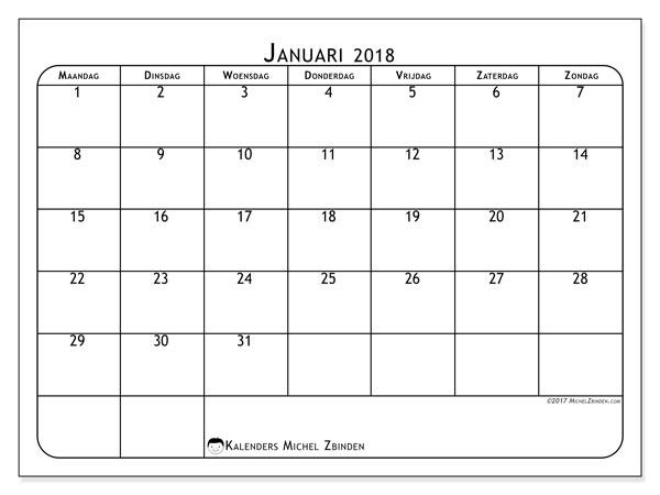 Kalender januari 2018 (51MZ). Maandkalender om gratis te printen.