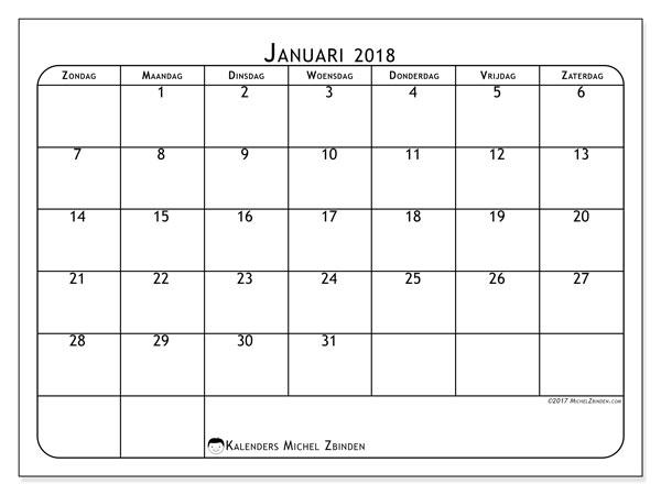 Kalender januari 2018 (51ZZ). .