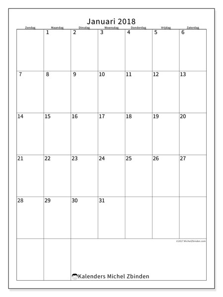 Kalender januari 2018 (52ZZ). Kalender om gratis te printen.