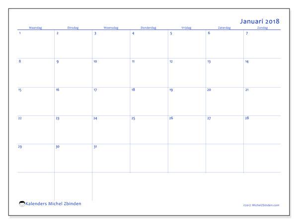 Kalender januari 2018 (55MZ). Kalender voor de maand die gratis moet worden afgedrukt.