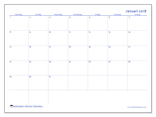 Kalender januari 2018 (55MZ). Kalender om gratis af te drukken.