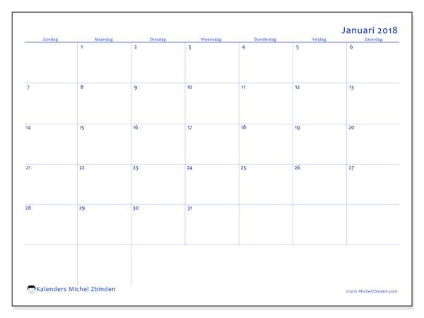 Kalender januari 2018 (55ZZ). Kalender voor de maand die gratis moet worden afgedrukt.