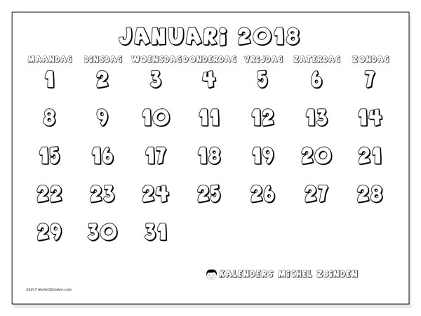 Kalender januari 2018 (56MZ). Agenda om gratis te printen.