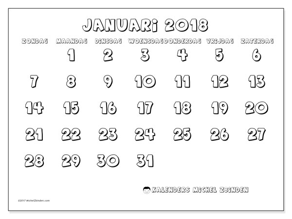 Kalender januari 2018 (56ZZ). Schema om gratis te printen.