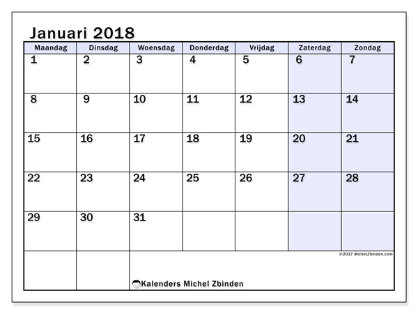 Kalender januari 2018 (57MZ). Kalender voor de maand die gratis moet worden afgedrukt.