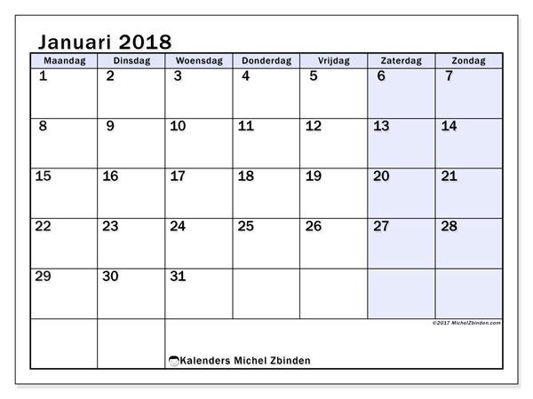 Kalender januari 2018 (57MZ). Kalender om gratis af te drukken.