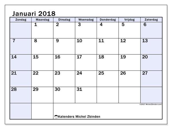 Kalender januari 2018 (57ZZ). Kalender voor de maand die gratis moet worden afgedrukt.