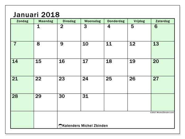 Kalender januari 2018 (60ZZ). Kalender om gratis af te drukken.
