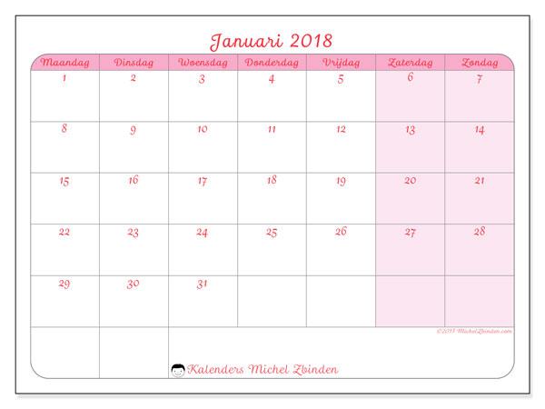 Kalender januari 2018 (63MZ). Gratis kalender om af te drukken.