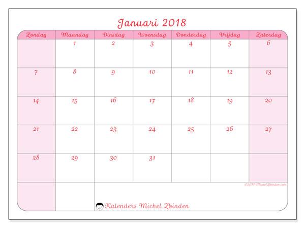 Kalender januari 2018 (63ZZ). Kalender om gratis te printen.